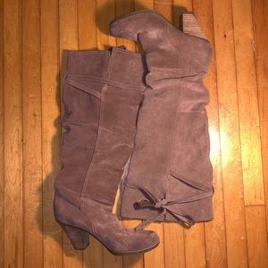 Report Shoes - Report Suede Leather Over-the-Knee Boots Tan SZ 9